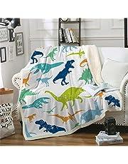 "Chifave Throw Blanket for Children, Dinosaur Pattern Sherpa Plush Fleece Blanket Soft Cozy Cartoon Blankets for Kids (Dinosaur 11, 60"" x 80"")"