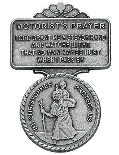 St Christopher Motorist Prayer Auto Visor Clip
