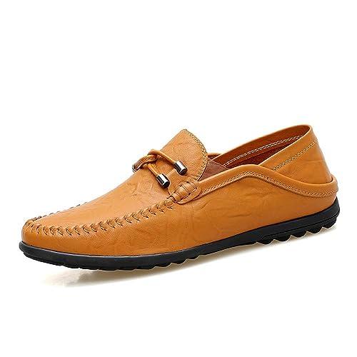 para Hombre Mocasines de Gran tamaño de Cuero Genuino de conducción Plana Hebilla de Gran tamaño Respirable: Amazon.es: Zapatos y complementos