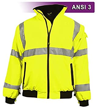 Wind /& Water Resistant Durable ANSI Class 3 compliant 2XL Brite Safety Style 5020 Hi Vis 3-Season Bomber Jacket Men or Women