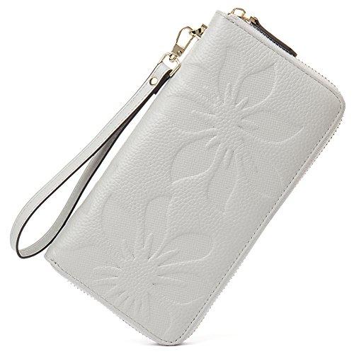 BOSTANTEN Women's RFID Blocking Leather Wallets Credit Card Cash Holder Clutch Wristlet Light Gray