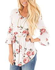 DREAMLOVER Women's Summer Floral Tank Tops Sleeveless Casual Shirt Blouses