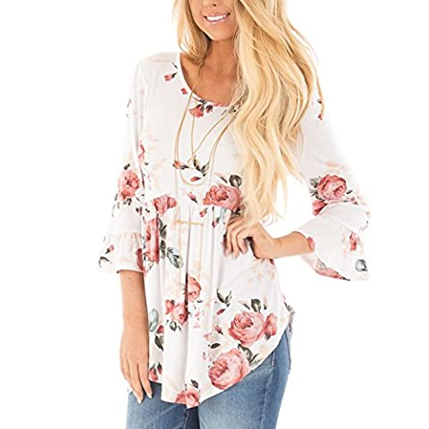HOOYON Women's Fall Casual Long Sleeve Floral Knot Blouse Tops White XL - Best White Blouse