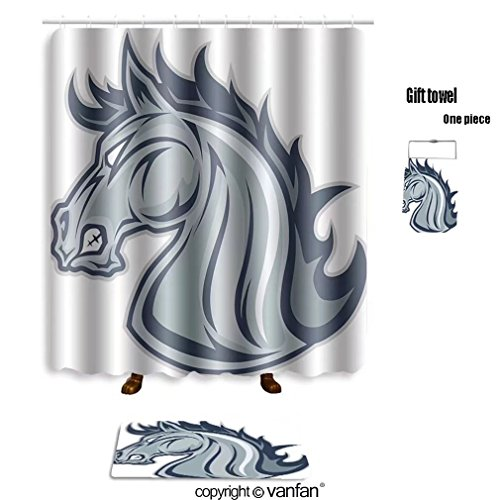 Delicate Vanfan Bath Sets With Polyester Rugs And Shower Curtain Horse Or Mustang Head Mascot 410350756