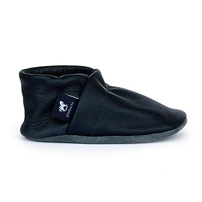pantau Lederpuschen Leder Hauschuhe Puschen Pantoffeln Schluffen Patschen Schlappen in Unifarben, Damen und Herren, 43 EU