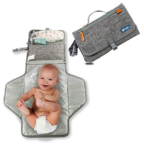YazzyBoa Baby Portable Changing Pad – Lightweight Cushioned Travel Changing Pad Portable – Foldable Diapering Clutch Waterproof
