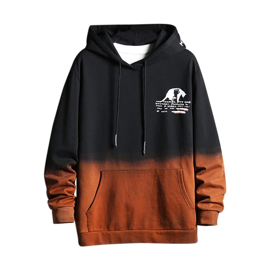 Fitfulvan Men's Gradient Color Hooded Long Sleeve Sweatshirt Pocket Casual Pullover Coat Black