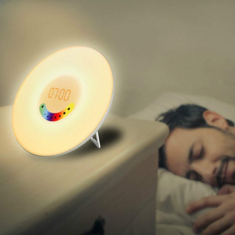 MianBaoShu Wake Up Light Luz Despertador LED Luz Despertador Amanecer con 7 Cambio de color LED 6 nat/ürliche Alarma tonos,10Niveles de Brillo Simulaci/ón del Amanecer para un Natural despertar