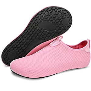 Barerun Women Men Waterproof Water Shoes for Womens Mens Swimming Jogging Walking Gardening Pink 4.5-5.5 B(M) US