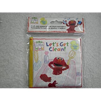 Sesame Street Elmos World Lets Get Clean Bath Time Bubble Book Bathtub