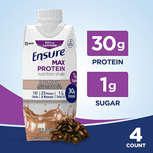 Ensure Max Protein Nutritional Shake with 30g of Protein, 1g of Sugar, High Protein Shake, Cafe Mocha, 11 fl oz, 4 Count