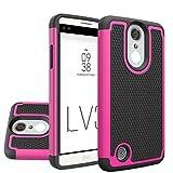 LG Aristo (MS210) LG LV3 LG K8 2017 Case - NOKEA [Shock Absorption] [Anti-Slip] Hybrid Dual Layer Armor Defender Protective Case Cover for LG V3 MS210 (Hot Pink)