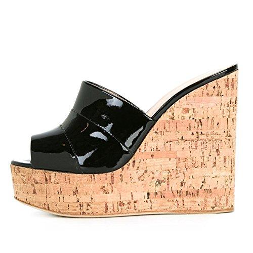 Grande Main Slope Femmes à Fait YC Taille Robe la Taille Prom Party Chaussures black L Sandales Wt6Yfxnwqt