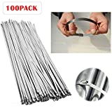 Metal Zip Ties 100 pcs 11.8'' 304 Stainless Steel Exhaust Wrap Coated Locking Cable