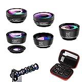 Greatlizard Phone Camera Lens Kit, 6 in 1 Professional Clip On Lens Kit, CPL + 120° Wide Angle Lens + 15X Macro Lens+210° Fisheye Lens + 2X Portrait Lens + Star Lens