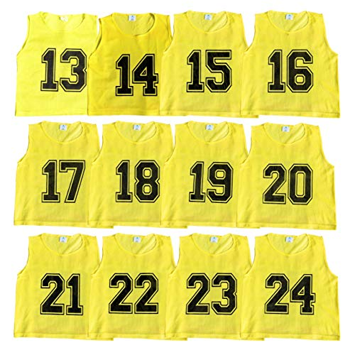 Athllete Set of 12 - Scrimmage Vest/Pinnies/Team Practice Jerseys with Free Carry Bag. Sizes for Children Youth Adult and Adult XL (Golden Yellow Numbered, Large) ()