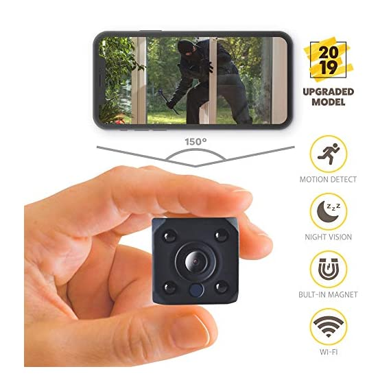 - 51xVhBq0EVL - [2019 New] HD 1080P Mini Spy Camera Wireless Hidden Camera Small WiFi Home Security Cameras Night Vision – IP Nanny Cam Indoors Office Car Video Recorder Motion Activated Monitoring Recording Device