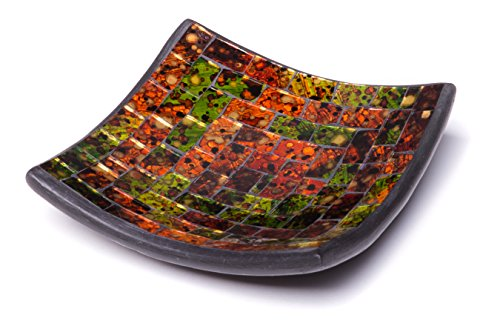 Glass Mosaic Square Accent Plate Platter Decorative Catch-All Tray Dish Centerpiece Bowl - 6