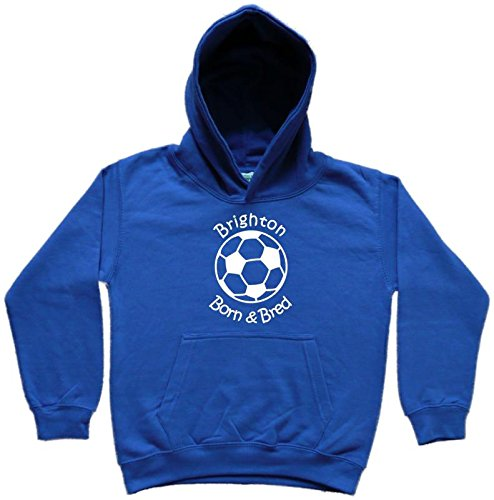 Hat-Trick Designs Brighton & Hove Albion Football Baby/Kids/Childrens Hoodie Sweatshirt-Royal Blue-Born & Bred-Unisex Gift