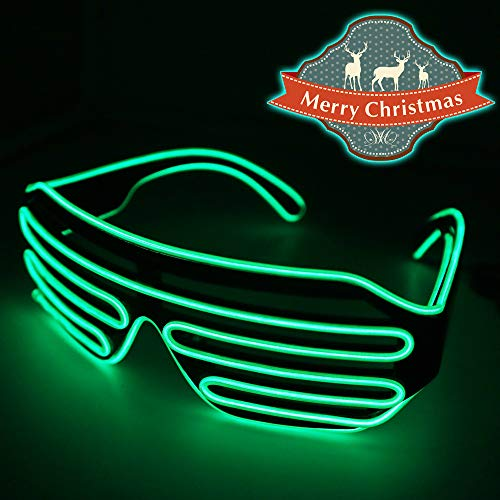 YJLWE LED Light Up Glasses Party Flashing EL Wire Neon Rave Glasses for Kids and Adults Carnival Halloween Disco Bar DJ Glowing Décor Green ()