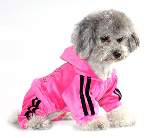 SEIMAI Rhinestone Crown Soft Velvet Dog Hoodie Jumpsuit for Small Dog Cat Puppy Winter Hooded Pajamas Tracksuit Outfits Pink S ()