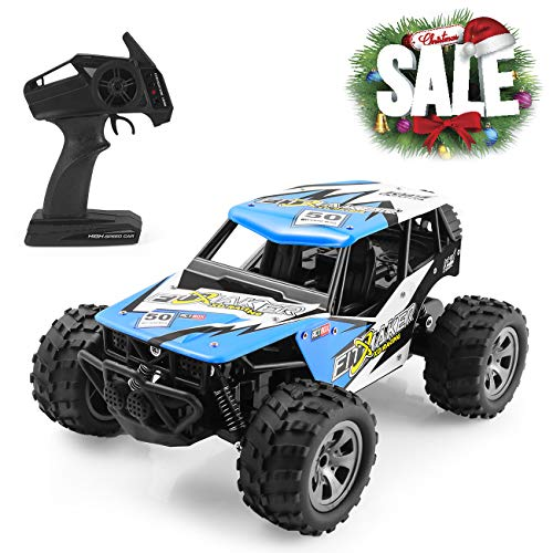 FITMAKER RC Cars, All Terrain Remote Control High-Speed Offroad 2.4Ghz 2WD Remote Control Monster Truck, Best Gift for Kids and Adults (New Blue)