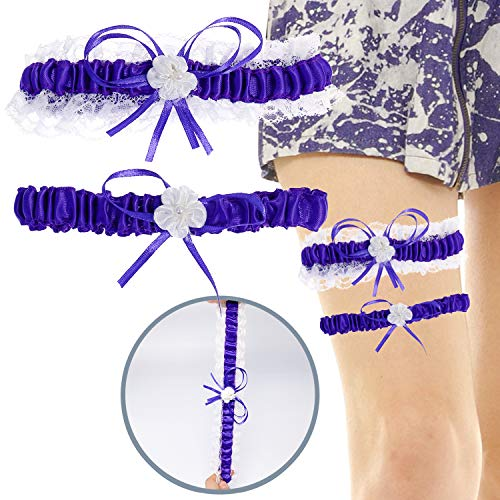 Elehere Lace Wedding Garters with Bowknot Stain Adjust Stretch Bridal Accessory Tradition Vintage - Set of 2 (Purple)