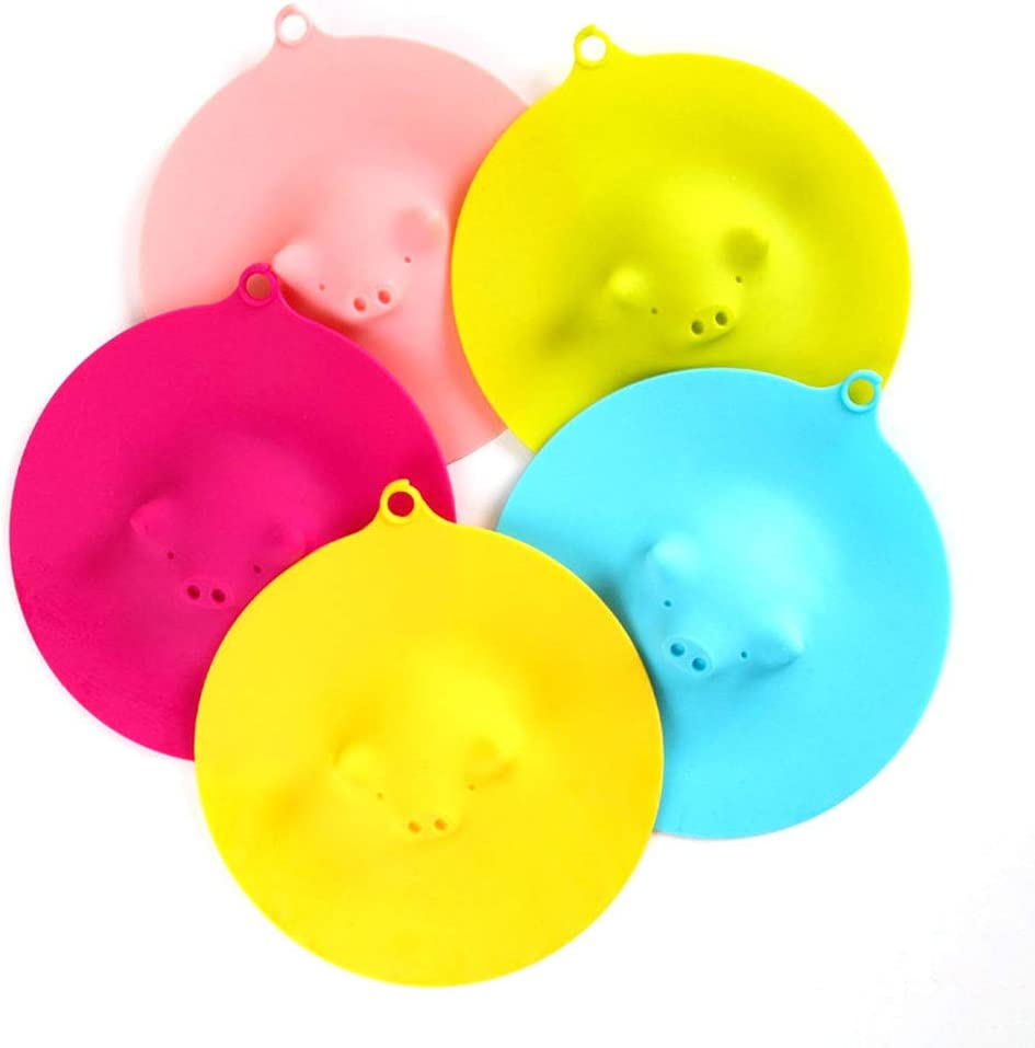 Food Grade Silicone Cup Covers Pig Mug Cover 5 Pcs Silicone Cup Lids Heat retention Reusable Dustproof Leakage Prevention For Coffee Drink Tea Family Kitchen