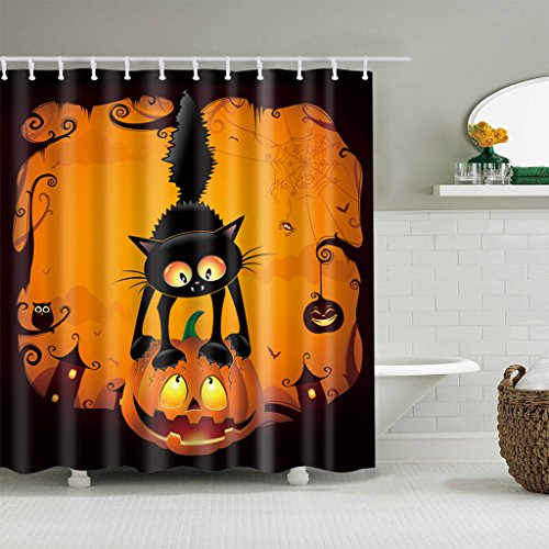 Forgun Halloween Black Cat Pumpkin Shower Curtain Bathroom