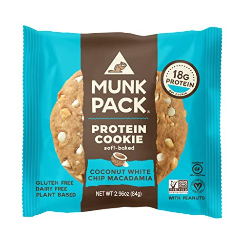 (Munk Pack Vegan Protein Cookie | Coconut White Chip Macadamia, 18 Grams of Protein | Vegan, Gluten-Free, Dairy-Free, Soy-Free, Soft Baked | 2.96oz, 12-Pack)
