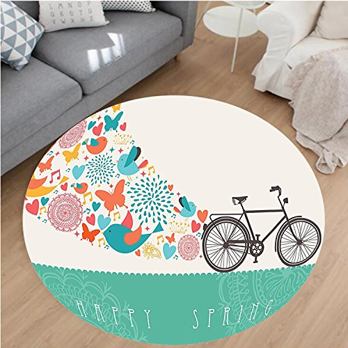 Nalahome Modern Flannel Microfiber Non-Slip Machine Washable Round Area Rug-ng Themed Bike Concept with Blossomed Bird and Butterflies Fresh Textured Print Teal Grey area rugs Home Decor-Round 55