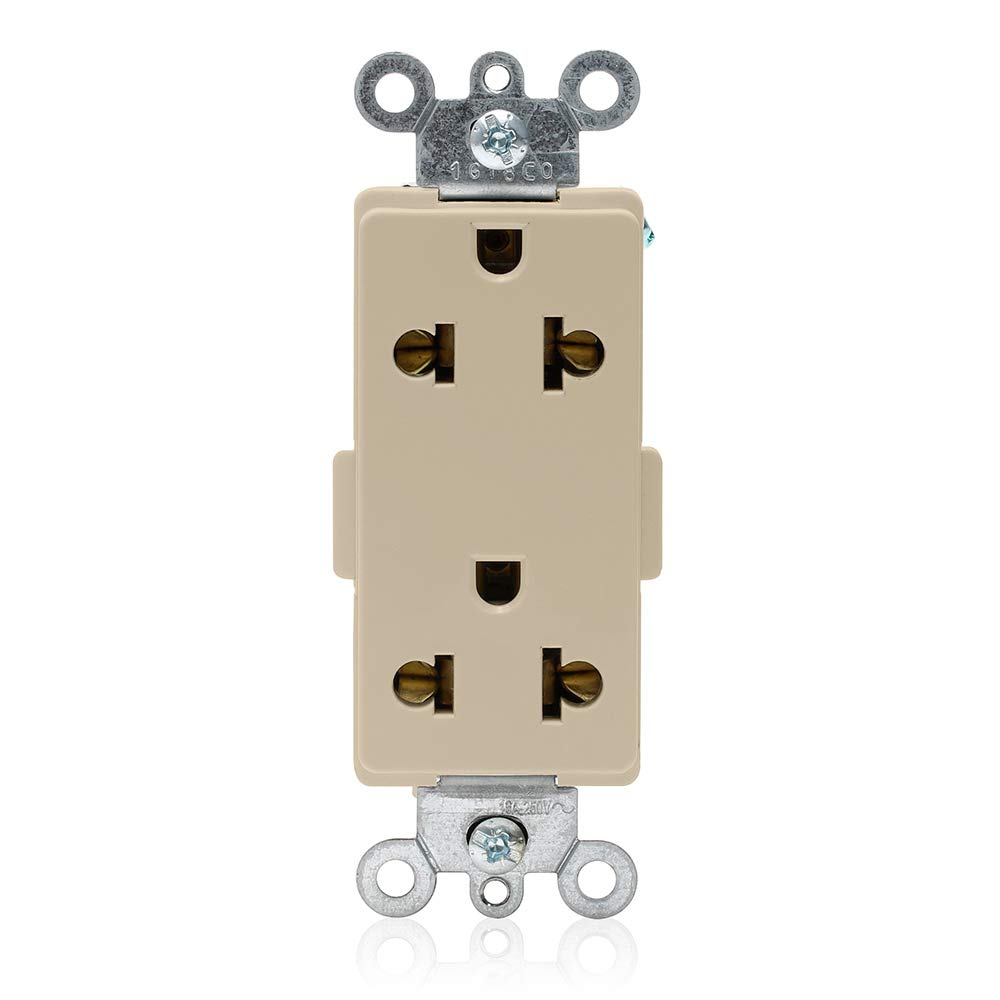 16 Amp 250 Volt Ivory Leviton 5835-I Decora Plus Straight Blade and Europlug Receptacles Commercial Specification Grade