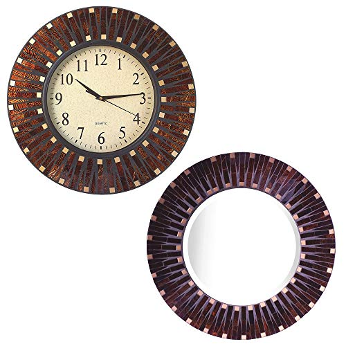 Lulu Decor, Amber Dot Mosaic Wall Clock Mirror Combo, Frame Size 16 , Perfect for Home Office Space