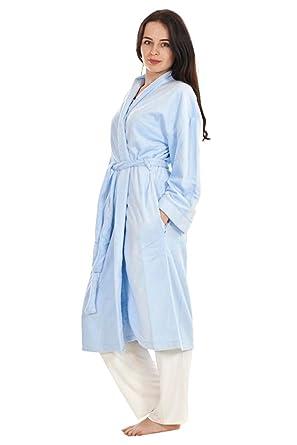 Cotton Trend Ladies Dressing Gown Brown Bath Robe Fleece Lilac Plain ...