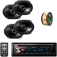 Pioneer CD Bluetooth Receiver with Enhanced Audio Functions W/Pioneer 250W 6.8 Inch 2-Way Coaxial Car Audio Speakers 2-pairs & Enrock Audio 14 AWG Gauge 50 Feet Speaker Wire Cable Copper Clad Aluminum