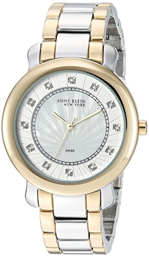 Anne Klein New York Women's 12/2269MPTT Swarovski Crystal Accented Two-Tone Bracelet Watch