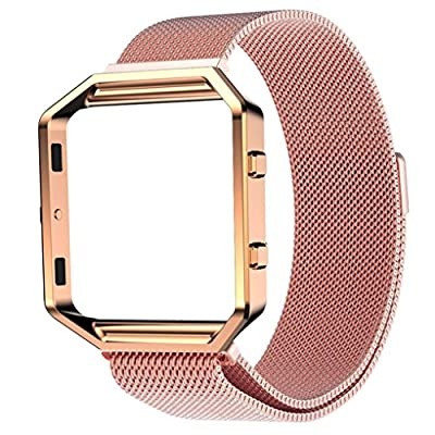 For Fitbit Blaze, Lucoo® Milanese Magnetic Stainless Steel Watch Band Replacement + Metal Frame Loop for Fitbit Blaze