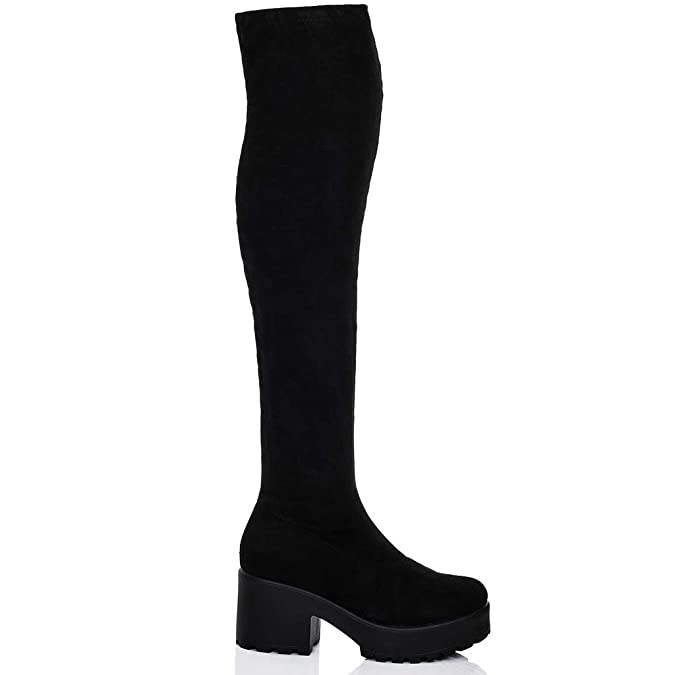 SPYLOVEBUY FRISCO Damen Plateau Blockabsatz Overknee Stiefel  Amazon.de   Schuhe   Handtaschen af0e2a33f7