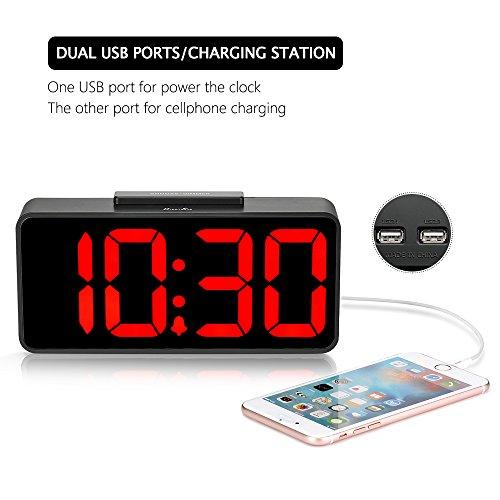 DreamSky Alarm Clock USB Port Charging, Dimmer Vision Bedside Desk Clock, Auto DST.