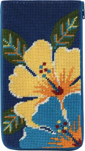 - Stitch & Zip Eyeglass Case Needlepoint Kit- Bright Hibiscus