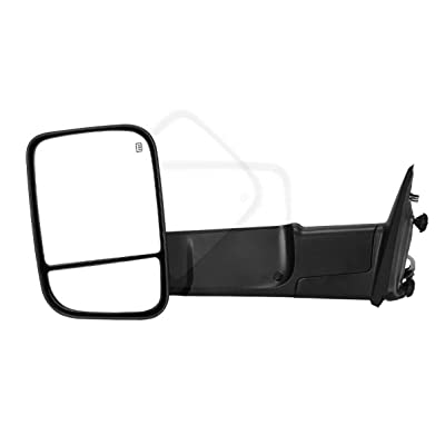 Maxiii Compatible for Dodge RAM Driver Left Side Towing Mirror, 2009-2015 Dodge RAM 1500 Left Side Tow Mirror, 2010-2015 RAM 2500 3500 Trailer Mirror, Heated Defrost Truck Mirror Manual: Automotive