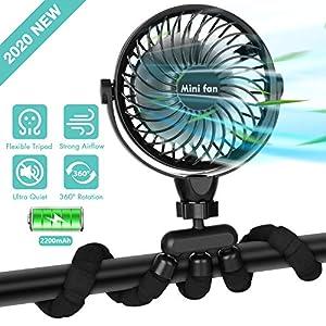 Portable Handheld Fan, 2600mAh Battery Powered Personal Desk Baby Fan Air Circulator Fan with Flexible Tripod, Ultra…