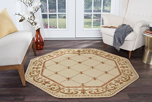 Orleans Traditional Border Ivory Octagon Area Rug, 5' Octagon ()