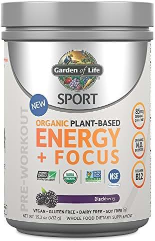 Garden of Life Sport Organic Pre Workout Energy Plus Focus Vegan Energy Powder, BlackBerry, 15.3oz (432g) Powder