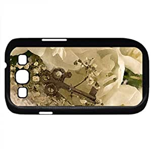 Key to my Soul (Flowers Series) Watercolor style - Case Cover For Samsung Galaxy S3 i9300 (Black)