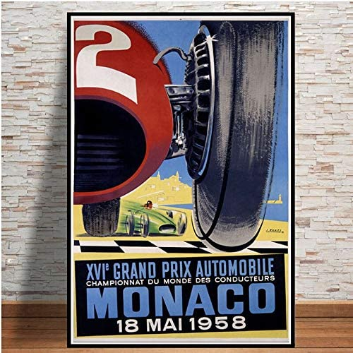 Aya611 Grand Prix Super Racing Car Retro 2006 Monaco Race 64th Motor Poster Wall Art Canvas Wall Picture Painting For Room Home Decor50x70 CM No Frame