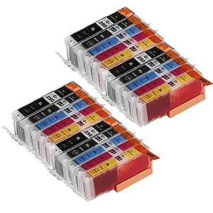 Toner Clinic TC-PGI-250XL CLI-251XL 20PK 4 PGI-250BK Black 4 CLI-251BK Black 4 CLI-251C Cyan 4 CLI-251M Magenta 4 CLI-251Y Yellow - 20 Pack Compatible Inkjet Cartridge for Canon PIXMA iP7220 iP8720