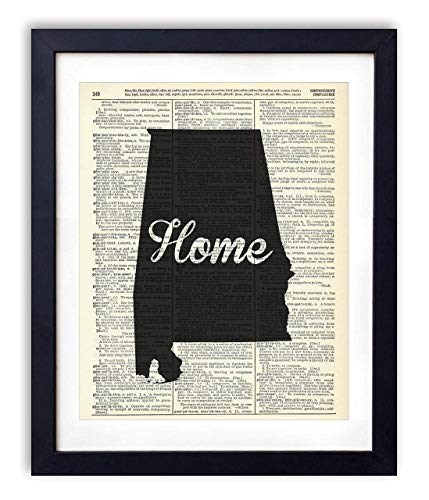 (Alabama Home Script Upcycled Vintage Dictionary Art Print 8x10)