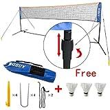 SoBuy SFN02 L400cm Set Filet de Badminton à pieds, réglable en hauteur, Tennis, Volley-ball, avec pied, bras et sac de transport. Livré avec 3 volants gratuits !!