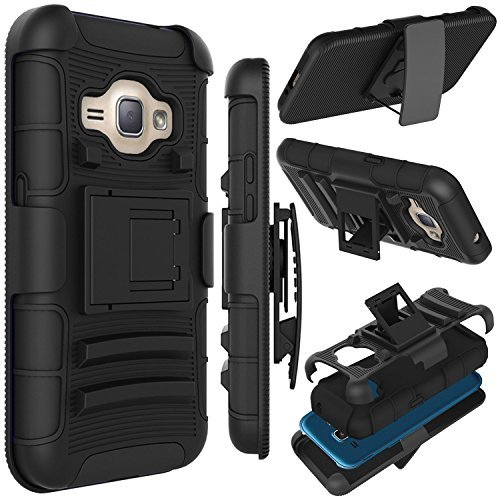 J1 2016 Case, Zenic(TM) Hybrid Full-Body Protective Case Cover with Kickstand & Belt Clip Holster Combo for Samsung Galaxy J1 J120 (4.5 inch) / Amp 2 / Express 3 / Luna 2016 (Black)